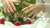 elegáns : Red manicure and fresh red roses. Old woman well-groomed hands with perfect red manicure touching red roses on white silk. Beauty and charm concept.