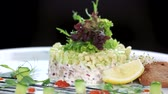 ringa : Garnished herring tartare. Tasty food macro.