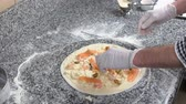 mussel dish : Chef making pizza shrimps. Dough cheese and seafood.