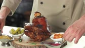 braised dishes : Roasted pork shank with spices. Restaurant food, meat.