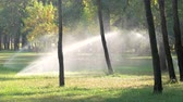 hue : Automatic sprinkler system watering the lawn. Spraying water on the grass in the city park. Stock Footage