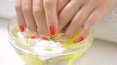 krizantem : Hands receiving spa therapy close up. Young woman hands with beautiful manicure is getting spa treatment. Woman hands in glass bowl with water and flowers. Stok Video