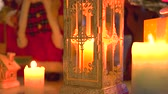 advento : Lighted candles, gifts and Christmas ornaments. Festive and warm atmosphere of Christmas Eve.