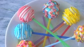 lolipop : Colorful glazed sweets on sticks. Delicious biscuits with colorful frosting. Baked lollipops for kids party.