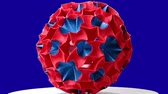 modul : Red origami magic ball. Blue hromakey background. Stock mozgókép