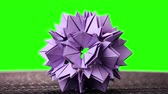 transforming : 3d purple origami spiky ball exposition. Green hromakey background for keying.