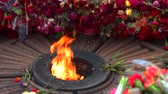 szovjet : Close up eternal flame and many flowers. Memorial victory day. Close up. Stock mozgókép