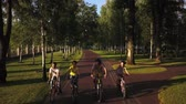 прокат : Four sporty friends cycling in park. Group of young people riding bikes outdoors, shooting from a height with a drone. Cheerful time together. Cycling with fun. Стоковые видеозаписи