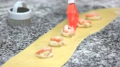 kitchen brushes : Dough, shrimps and cheese. Ravioli ingredients close up.