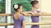 リハーサル : Smiling little ballerinas standing at barre. Two pretty ballet-dancers at ballet class. Break in practice. 動画素材