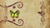 field : animated decorative painting background border with flying butterfly and growing flowers frame