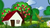 house : decorative cartoon concept video background with country side and building city Stock Footage