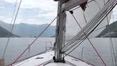 regata : Sails of the sailing yacht in the wind Stock Footage