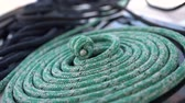 dobrado : Marine rope folded into a spiral. Close up