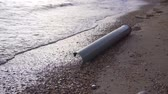 Water pollution plastic pipe at a coast Wideo