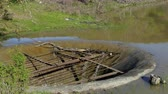 riool : Old Drainage System In A Lake At Summer