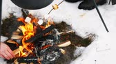 konvice : Cooking mulled wine on the bonfire in the winter forest. Dostupné videozáznamy