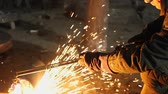 macchina utensile : Man work with Metal processing factory. Sparks.