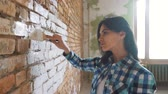 categoria : Beautiful young woman doing wall painting. Vídeos