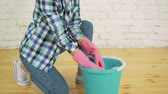 dust : Wringing a cleaning rag Stock Footage