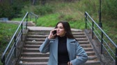 mensageiro : Woman talking on a mobile cell phone at park close up