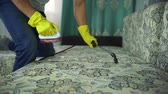 lavagem : A man from a cleaning company engaged in cleaning the sofa. Man in uniform sofa cleaning cloth with dry steam cleaner. Vídeos