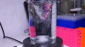 pipeta : Measuring cylinder with a solution on a magnetic stirrer in a laboratory