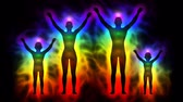 mind body soul : Aura and chakras - silhouette of family