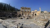ephesus : tourist visiting ruins Celsius Library in the ancient city of Ephesus at Turkey, wide angle