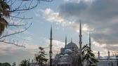ahmet : Ultra HD 4K, time lapse photography, clouds moving across the blue sky with Blue Mosque in winter season at Istanbul Turkey, Photo Sequence shot in RAW Stock Footage