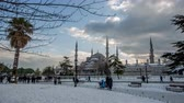 ahmet : Ultra HD 4K, time lapse photography, clouds moving across the blue sky with Blue Mosque in winter season at Istanbul Turkey, Photo Sequence shot in RAW, dolly shot