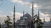 ahmet : time lapse photography, clouds moving across the blue sky with Blue Mosque in winter season at Istanbul Turkey, Photo Sequence shot in RAW, dolly shot