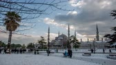 ahmet : time lapse photography, clouds moving across the blue sky with Blue Mosque in winter season at Istanbul Turkey, Photo Sequence shot in RAW, tracking shot