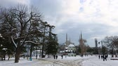 ahmet : cloudy day Blue Mosque at winter season Istanbul Turkey Stock Footage