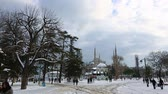 ahmet : time lapse clouds moving across the blue sky with Blue Mosque in winter season at Istanbul Turkey