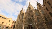 cityscape : timelapse Cathedral of the Holy Cross and Saint Eulalia, Cathedral de Barcelona at Catalonia