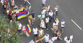 independencia : aerial protest Venezuelans at Valencia Spain, July 2017, 29 Stock Footage