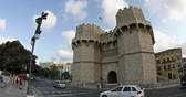 torres : Tracking Shoot Time Lapse The Serranos Towers and City Traffic in Valencia