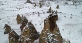 anatolia : 4K aerial view fairy chimney winter season of Cappadocia Turkey Stock Footage