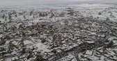 geológico : 4K timelapse aerial view fairy chimney winter season of Cappadocia Turkey Stock Footage