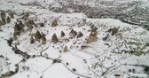 geológico : 4K aerial view fairy chimney winter season of Cappadocia Turkey Stock Footage