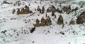 obydlí : 4K aerial view fairy chimney winter season of Cappadocia Turkey Dostupné videozáznamy