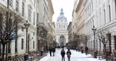budapeste : BUDAPEST, HUNGARY - JANUARY 15, 2019: Winter view of St. Petersburg. St. Stephens Basilica (Cathedral)