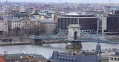 mermeladas : BUDAPEST, HUNGARY - JANUARY 17, 2019: A view of the buildings, the Danube river and the Old Town in Budapest. City traffic time lapse