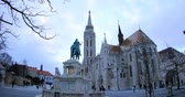 реликвия : Fisherman bastion towers, winter time in Budapest Стоковые видеозаписи