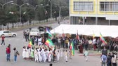 Addis Ababa - May 5: Young children dressed in colourful traditional outfit perform in front of the Ethiopian President at the 74th anniversary of Patriots Victory day commemorating the defeat of the invading Italians on May 5, 2015 in Addis Ababa, Ethio Стоковые видеозаписи