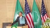 гелий : Addis Ababa - July 28: President Obama talks about Colonialism during hisspeech at the African Union Conference Center,on July 28, 2015, at the in Addis Ababa, Ethiopia. Стоковые видеозаписи