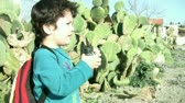 handheld : Child with binoculars Stock Footage