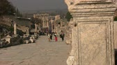ephesus : 6 february 2014 Group of tourists walking Curetes Street, Ephesus, Turkey Stock Footage