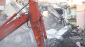 sideview : House demolition with bulldozer Stock Footage
